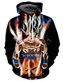 Sudaderas Dragon Ball Niño Hombres Sudadera con Capucha 3D Unisex Mujer Impresión Sudadera de Manga Larga Suéter Fresco Dibujos Animados de Fans Streetwear Sudaderas de Moda con Bolsillos (QZ121, S)