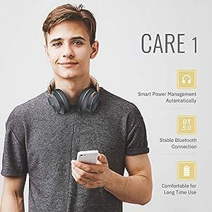 DOQAUS Bluetooth Kopfhörer Over Ear, [Bis zu 52 Std] Kabellose Kopfhörer mit 3 EQ-Modi, HiFi Stereo Faltbare Headset mit Mikrofon, weiche Ohrpolster für iPhone/ipad/Android/Laptops (Asphaltgrau)