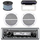 Kenwood Marine Bluetooth Radio  In-Dash Boat Audio Receiver Bundle with Pair of Enrock 6.5' Dual-Cone Stereo Speakers, Stereo Waterproof Cover, 18g 50ft Marine Speaker Wire (White)