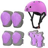 LANOVAGEAR Casco Infantil Set de Protección Casco 2-8 años Ajustable Rodilleras, Coderas y Muñequeras para Patinar Ciclismo Monopatín y Deportes Extremos (púrpura, S)