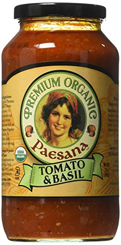 small Paesana sauce, organic tomato basil, 25 oz-6 packs
