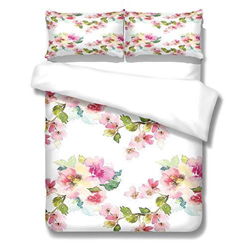 Bettbezug Mikrofaser Bettwäsche (200X200) cm + Kissenbezug (48X75) cmx2 - Superweiches Bettbezug Set,mit Reißverschluss,Pinke Blumen