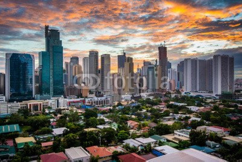 Desconocido druck-shop24 - Lámina Adhesiva con Diseño de la película View of The Skyline of Makati at Sunset, en Metro Manila, The Ph   119069406, vídrio acrílico, 3 2-60 x 40 cm   40 x 60 cm