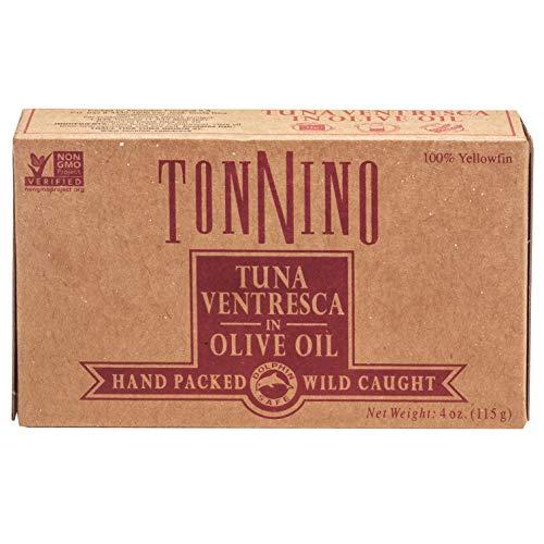 Tonnino Tuna Fillets Low Calorie and Gluten Free Yellowfin Canend Premium Tuna Ventresca in Olive Oil 4 Oz [6 pack]