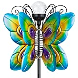 Fawgold Solar Wind Spinner with Metal Garden Stake Outdoor LED Glass Ball Butterfly Sculpture for Lawn Patio& Garden Decor