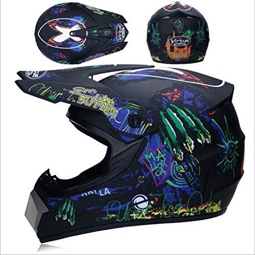 JWL Motocross Racing Helmet Mountainbike-Helm licht met bril, masker en handschoenen (zwarte mat)