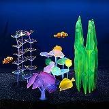ACBungji Juego de 4 plantas artificiales para acuario, efecto luminoso, plantas de agua, coral, hojas de loto, hojas de silicona, plantas de acuario, decoración para acuario, paisaje (juego 1)
