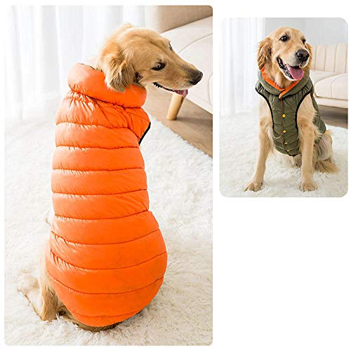 QKEMM Abrigos para Perros de Invierno Chaqueta Abrigo de Algodón Doble Faz Abrigo Chaleco de Perro Ropa de Perro para Mascotas Naranja Verde 4XL