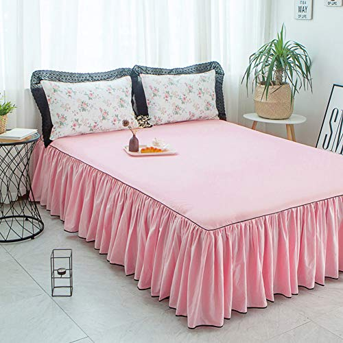Find Bargain Bedskirt Cotton Bed Skirt Bed wrap Around Style,Ruffled Bed Skirt Three Fabric Sides Pl...