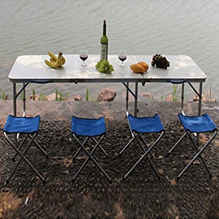Aluminum Folding Portable Table Lightweight Waterproof Foldable Table for Party Picnic Dining Outdoor Indoor Use Adjustable Height Craft Camping and Utility Folding Table w//Handle and Lock B