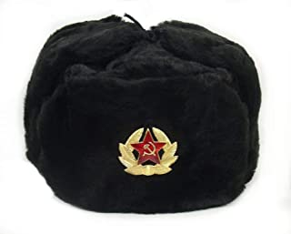 Russian Soviet Army Fur Military Cossack Ushanka Hat (Black, 59(L))