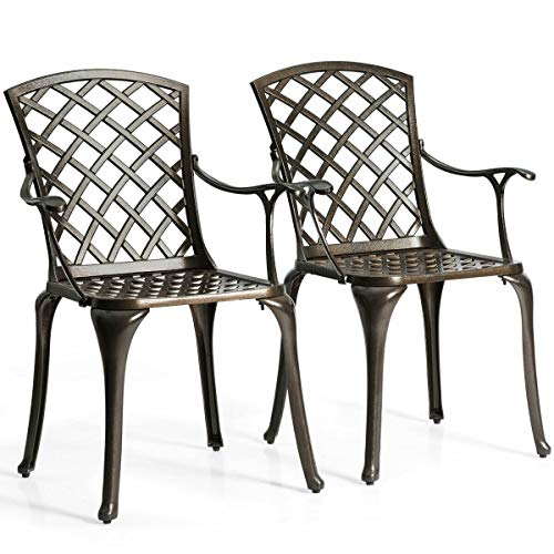 Heize Best Price Black Outdoor Cast Aluminum Arm Dining Chairs Set of 2 Patio Bistro Chairs(U.S. Stock)