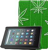 Funda para Kindle Fire 7 2019,Verde,Hojas de Marihuana,Accesorios para Kindle Fire,Fundas para Tableta Fire 7(novena generación,versión de 2019),Ligera con Reposo automático/activación