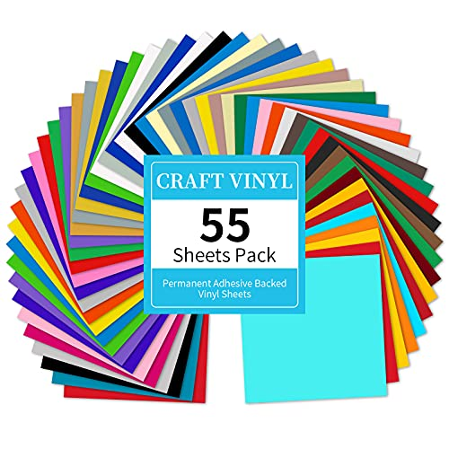 Lya Vinyl 55 Pack Permanent Adhesive Vinyl Sheets for Decor Sticker, Party Decoration, Car Decal - 43 Color Vinyl for Cutting Machine, Craft Cutter