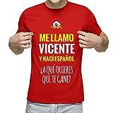 Camiseta Personalizada con Nombre y la Frase 'Nací español a qué Quieres Que te Gane' (Rojo)