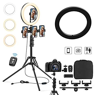 """Aluminum Remote Controlled LED Selfie 10""""12""""14"""" 18""""Ring Light 3m Wire,Saimly Portable Tripod Camera Ring Light and 4 Phone Stands, 3000k-6500k Dimmer for Photography/Makeup/Video by Saimly"""