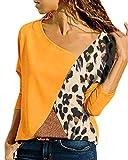 YOINS - Camiseta de manga larga con cuello en V para mujer, diseño de bloque de color, informal, holgada, tipo túnica Leopardo-amarillo XL