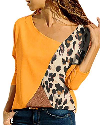 YOINS Haut Pull Femme Chemise Été Chic T-Shirt Manches Courtes Chemisier Coton à Col Rond Tee-Shirt Mode Rayures,Léopard-jaune,EU 40-42(Taille Fabricant: M)