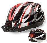 Casco de Bicicleta, Shinmax Casco de Ciclismo Certificado CE Casco MTB Hombre Mujer con Luz Trasera LED de 3 Modos Visera Desmontable Cascos Montaña Ajustable Ultraligero Casco Bici 56-62cm