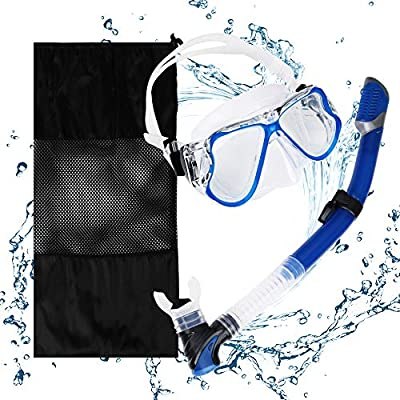 US Snorkeling Snorkel Package Set(Blue), Anti-Leak Anti-Fog Goggles Diving Panoramic View Clear Tempered Glass Mask, Dry Top Soft Mouthpiece Snorkel Tube, Snorkeling Gear Bag for Adults and Youth