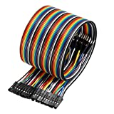 uxcell Male to Female 40Pin Breadboard Jumper Wire 2.54mm Pitch Ribbon Cable 50cm Long