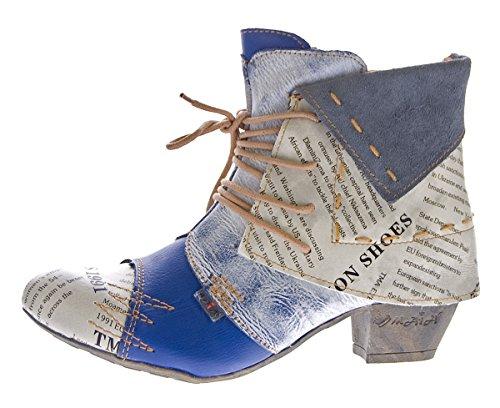 TMA Damen Stiefeletten Echtleder Knöchel Schuhe Leder Boots 6106 Blau Gr. 39