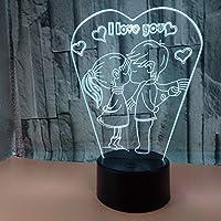 文字3Dライトパターン私はあなたを愛してロマンチックな結婚祝いのカラフルなタッチライトベビールームは子供の目を傷つけませんギフトブラックカラフルな座席:タッチ+リモコン