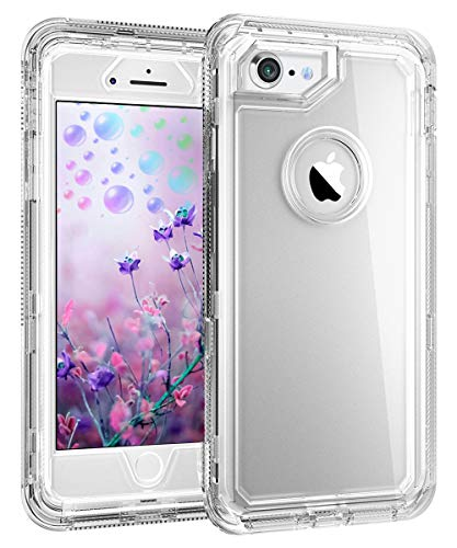 iPhone 8 Clear Case - by MXX - Hybrid Heavy Duty Protective Dual Layer Shockproof Cover with Hard PC Bumper + Soft TPU Back for Apple iPhone 7/8/6S - Transparent