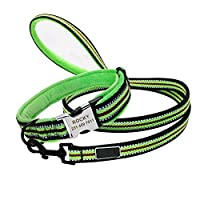 犬の首輪と鎖のセット緑の犬の首輪とリーシュセットナイロン反射犬の首輪ペットの首輪中小大型犬用L