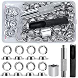 EuTengHao 100 Sets Grommet Kit Metal Eyelets Sets 1/2 Inch with Install Grommets Tool Kit for Clothes Shoes Bags Leather Jeans DIY Crafts (Silver)