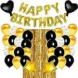Faffooz Decoraciones de Globos de Cumpleaños Pancarta de Cumpleaños Fiesta Cumpleaños Negro Oro Globos de Látex Globos de Confeti Adecuados para Cumpleaños de Niños y Niñas