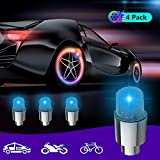 LED Wheel Lights,Waterproof Led Tire Lights, Bicycle Wheel Lights, Car Bike Wheel Tire Valve Cap Led Flash Light Lamp Motion Activated,Tire Valve Cap Light for Car Bike Bicycle Motorcycle Blue-4Pack