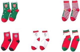 DEWIN, Calcetines de Navidad - Calcetines de algodón con estilo de invierno, Calcetines navideños, para niñas de 8 a 12 años, 5 pares (Color : Red, Size : XL)