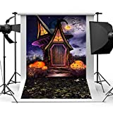 EdCott 8x10ft Casa Halloween Puerta Madera Vista Nocturna Fotografías Fondo...