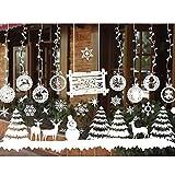 Autocollant de Vitrine de Noël, Sticker Mural Fenêtre Vitrine Autocollant PVC Amovible Décoration de Fenêtre Noël