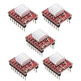 TOPofly A4988 Motor de Pasos del módulo Red Diver StepStick Compatible con disipador de Calor para el Controlador de la Impresora 3D Rampas 1.4 5PCS Componentes Industriales