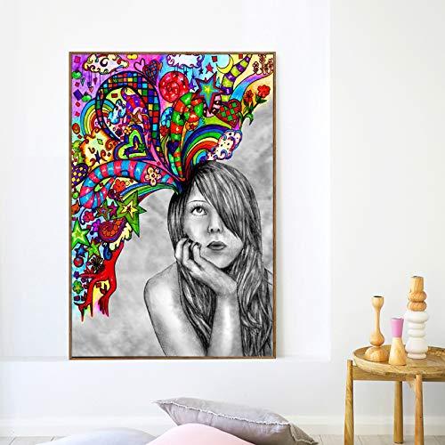 BuhuAZXM Print Wall Art Canvas schilderij graffiti-poster voor woonkamer wanddecoratie 40x60cm Geen frame.