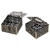 EXCEART 2 Unidades de Caja de Joyería de Metal Antiguo Caja de Almacenamiento de Baratijas Cuadradas Organizador de Aleación de Zinc Caja de Regalo de Joyería para Pulseras de Collar de
