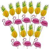 Hysagtek 100 pcs 3d Flamingo Ananas pour cupcakes DIY gâteaux Topper Picks Snack Cupcake Décorations pour hawaïen Luau Summer fête d'anniversaire gâteau Nourriture Décoration Fournitures