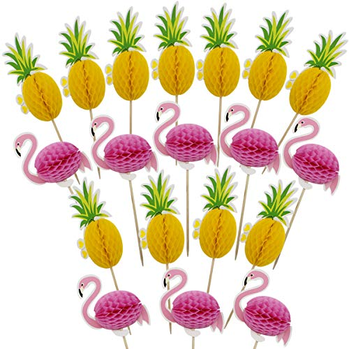 Hysagtek 100 Stück 3D Flamingo Ananas Cupcake Topper DIY Kuchen Topper Picks Snack Cupcake Dekorationen für Hawaiian Luau Sommer Geburtstag Party Kuchen Essen Dekoration Supplies