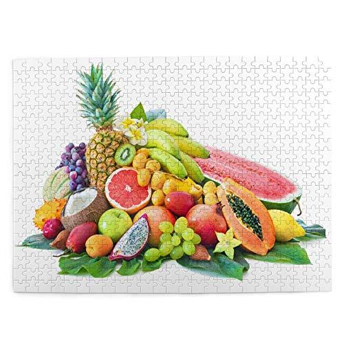 Juego de Puzzle para adultos,Rompecabezas de 500 piezas,juego de rompecabezas de imágenes Surtido de frutas tropicales hojas de palmera divertido juego educativo para niños y adultos de juguete
