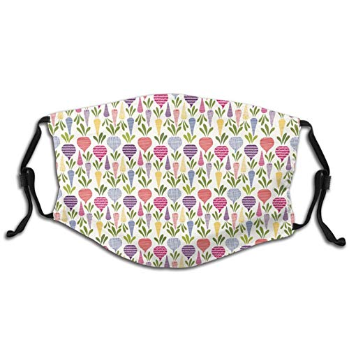 PET Fabric Mouth & Nose Shield, Washable Bandana Face Mouth Protective Cover, Stretchy, Adjustable Length,With Filter,With Abstract Design Beetroots And