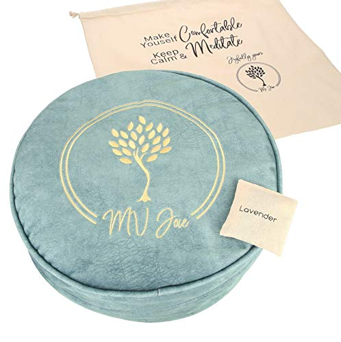 MV Joie Zafu Yoga Meditation Cushion Filled with Buckwheat Hulls & Charcoal Packages | Soft Velvet/Suede Yoga Pillow; Embroidery Design, Free Lavender Pouch & Anti-dust Cotton Bag (Mint Green, 13')