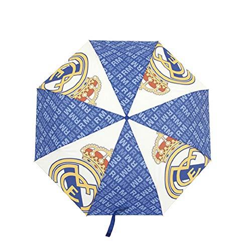 Real Madrid Faltbarer Regenschirm für Erwachsene – Offizieller Regenschirm Real Madrid faltbar mit Tasche Weiß/Marineblau