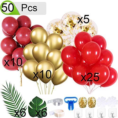 QAQGEAR Kit de Arco de guirnaldas de Globos 50 Piezas Decoraciones Globos Confeti de Oro metálico Globo Rojo Hojas de Palma Kit de Globos para Bodas Baby Shower, Compromiso, Fiesta de cumpleaños y