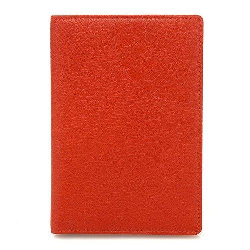 Etui Protection Passeport Elégant Alphabet Coréen Cuir Orange HANGEUL