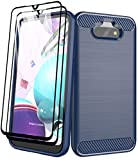 Aliruke Case Compatible for LG Phoenix 5/LG Fortune 3/LG Risio 4/LG K31 Case with Tempered Glass Screen Protector, Slim TPU Bumper Cover Flexible Shockproof Protective Phone Cases for LGK31, Blue