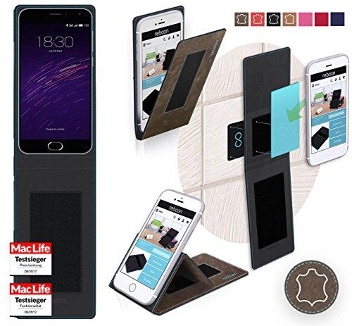 Hülle für Meizu m2 note Tasche Cover Hülle Bumper | Braun Wildleder | Testsieger