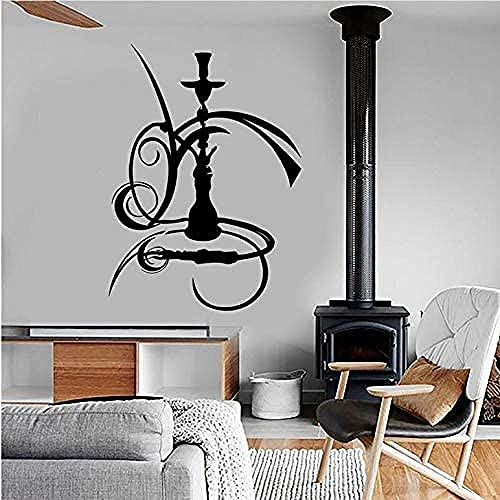 Wandtattoo Hisha Shisha Raucher Aufkleber Wandbildkunst für Mann Höhle Bar Innendekoration Vinyl Wandaufkleber Abnehmbare 57x42cm