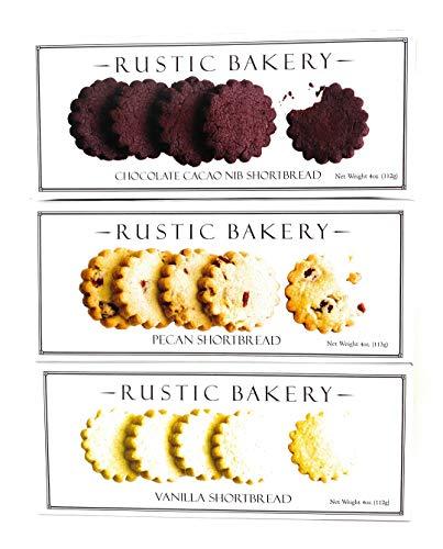 Rustic Bakery Cookies Bread Chocolate Cacao Nib Pecan Shortbread Cookies & Vanilla Low Sodium Thin Cookie Variety Bundle - 4oz- 3Pk